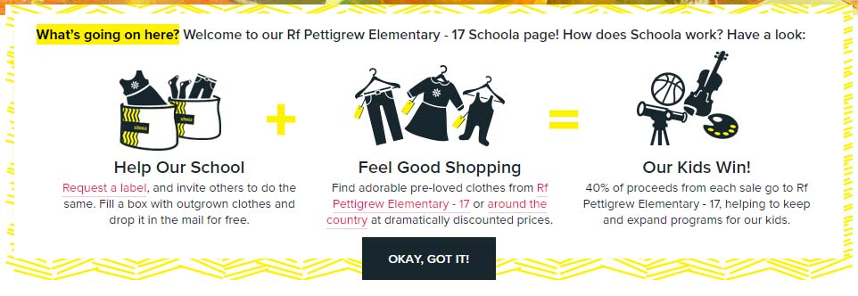 Screenshot image from Schoola website showing Pettigrew Elementary landing page