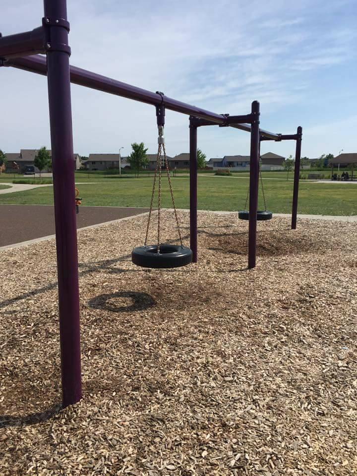 Tire swings on playground of R.F. Pettigrew Elementary School.