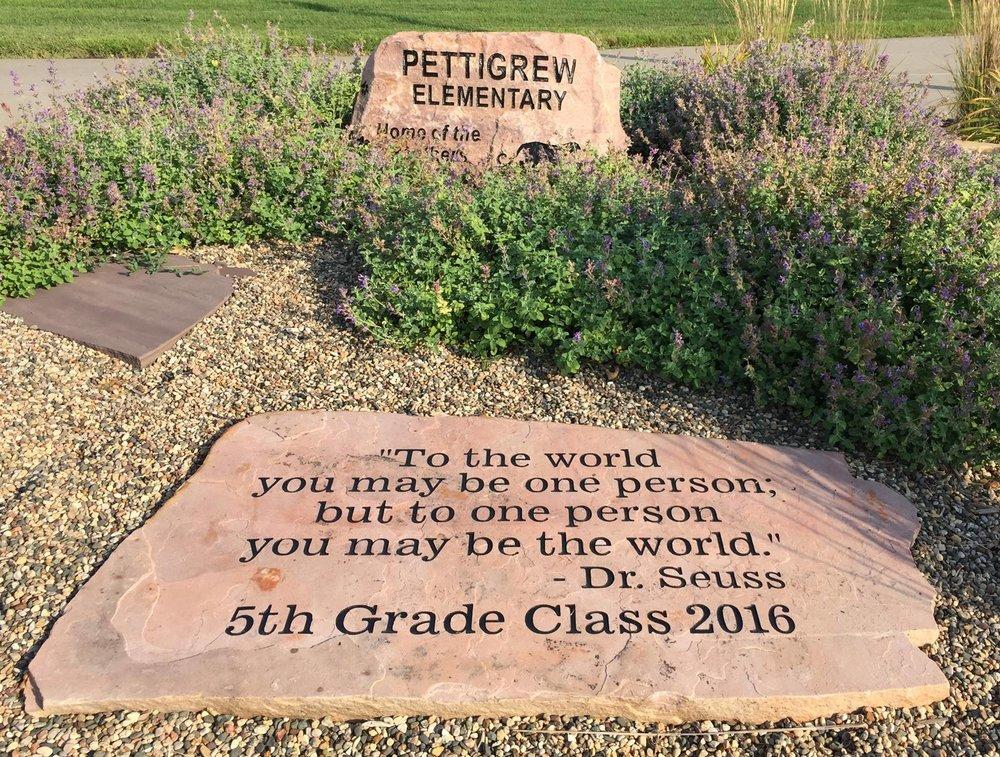 Rock garden in front of R.F. Pettigrew Elementary.