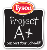 "Logo from Tyson ""Project A+"" which earns money for schools through collection of package labels."