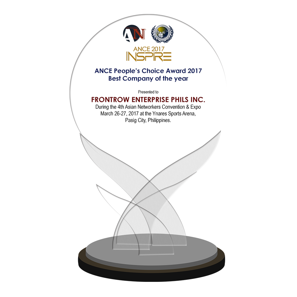ANCE 2017 INSPIRE   FRONTROW ENTERPRISE PHILS INC. 2017 ANCE People's Choice Awardee Best Company of the Year