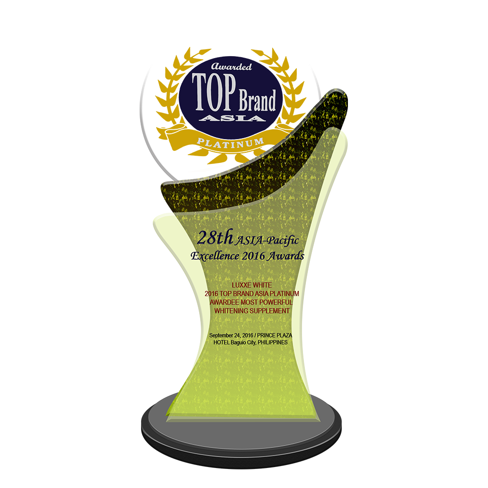 28th ASIA-Pacific Excellence 2016 Awards   LUXXE WHITE 2016 Top Brand Asia Platinum Awardee Most Powerful Whitening Supplement