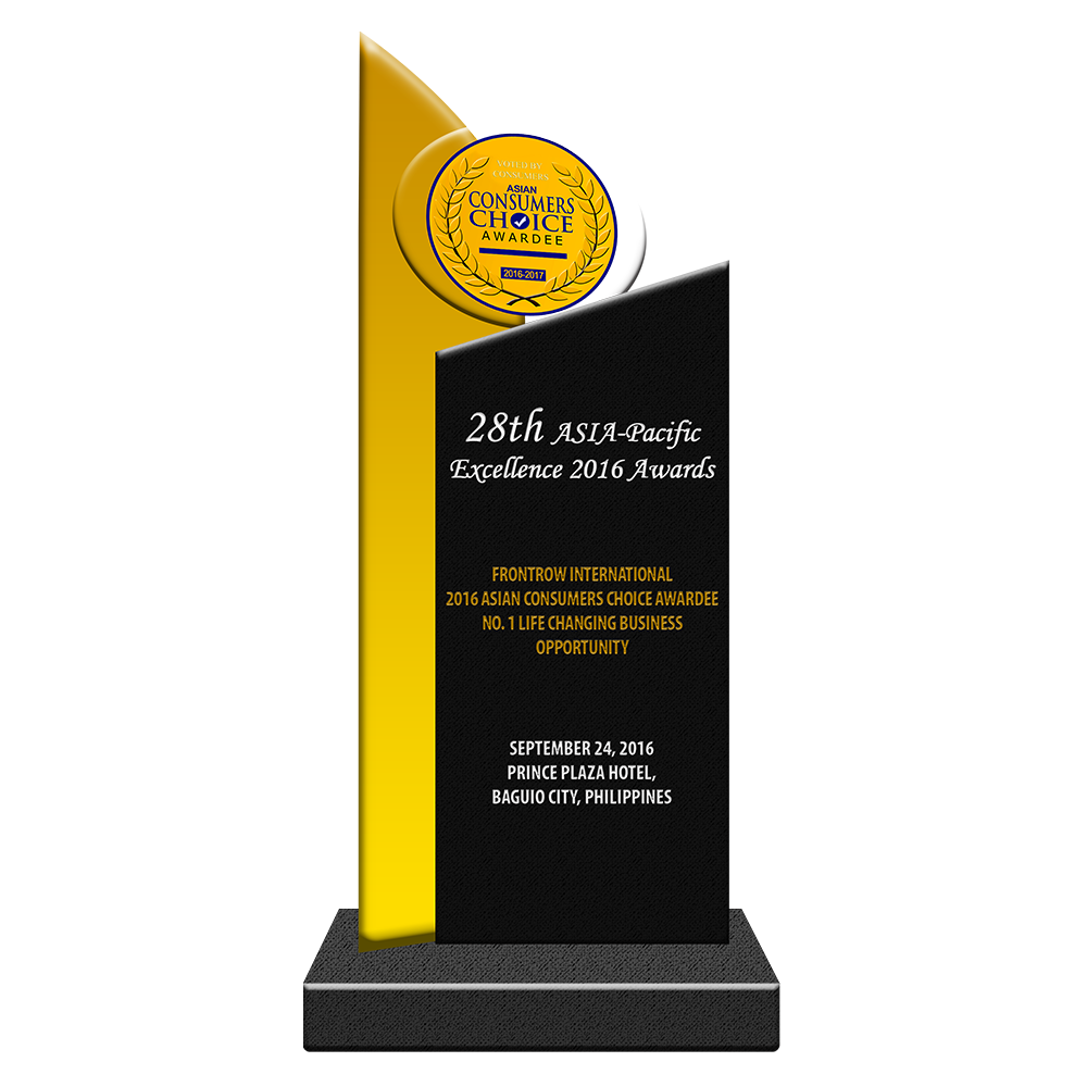 28th ASIA-Pacific Excellence 2016 Awards   FRONTROW INTERNATIONAL 2016 Asian Consumers Choice Awardee No. 1 Life Changing Business Opportunity