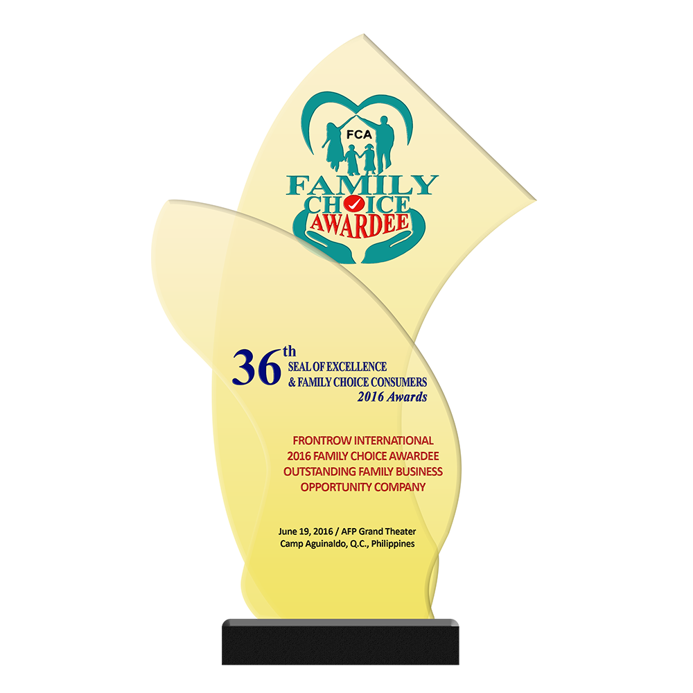 36th SEAL OF EXCELLENCE & FAMILY CHOICE CONSUMERS 2016 Awards   FRONTROW INTERNATIONAL 2016 Family Choice Awardee Outstanding Family Business Opportunity Company