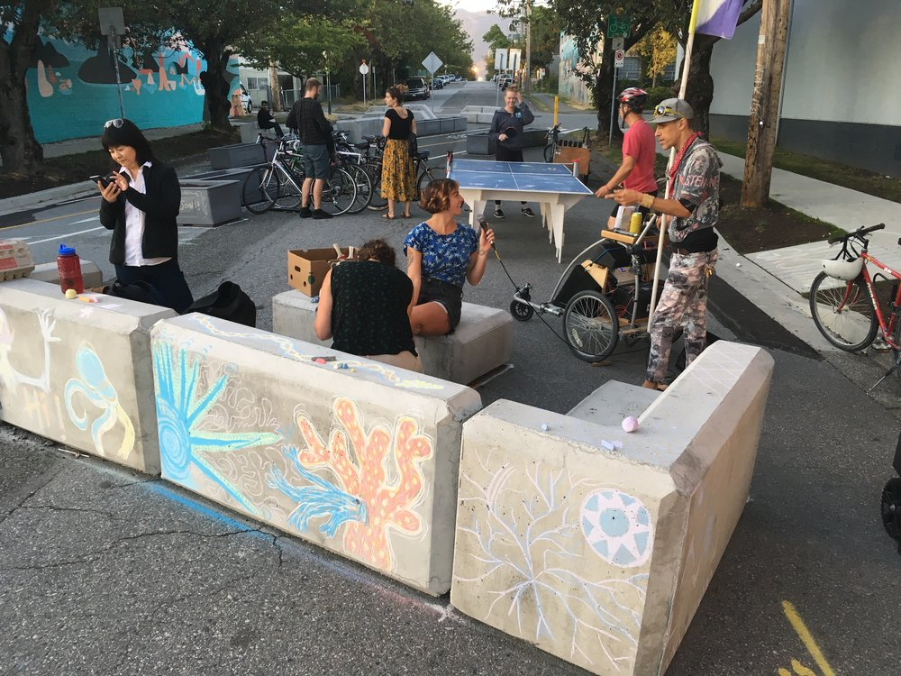 One of our regular Wednesday Pop-ups at Vernon//Adanac where we chalked the furniture