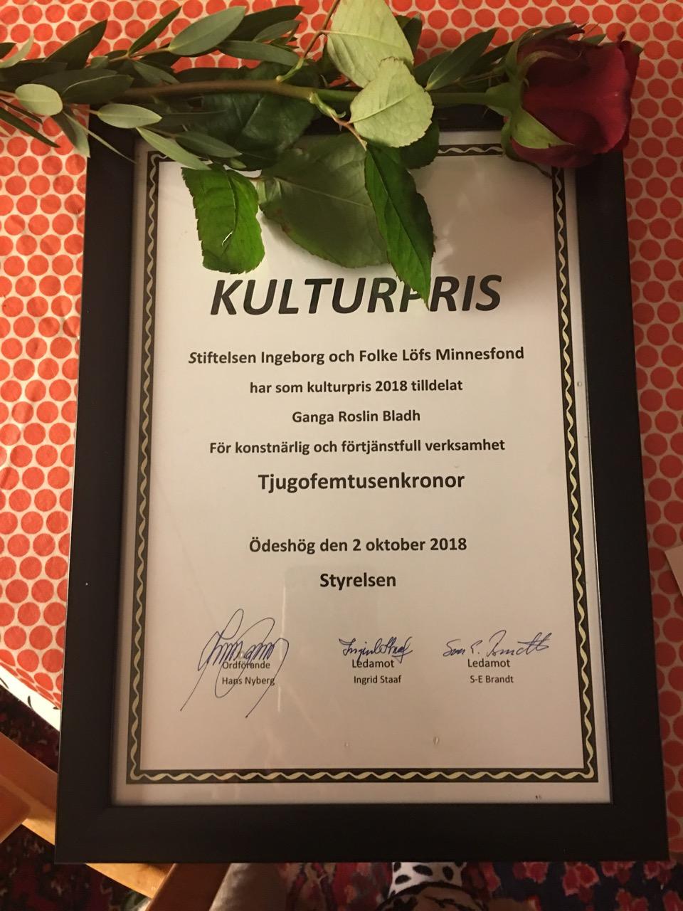 Kulturpris till Ganga Roslin Bladh, 2018, Löfs minnesfond