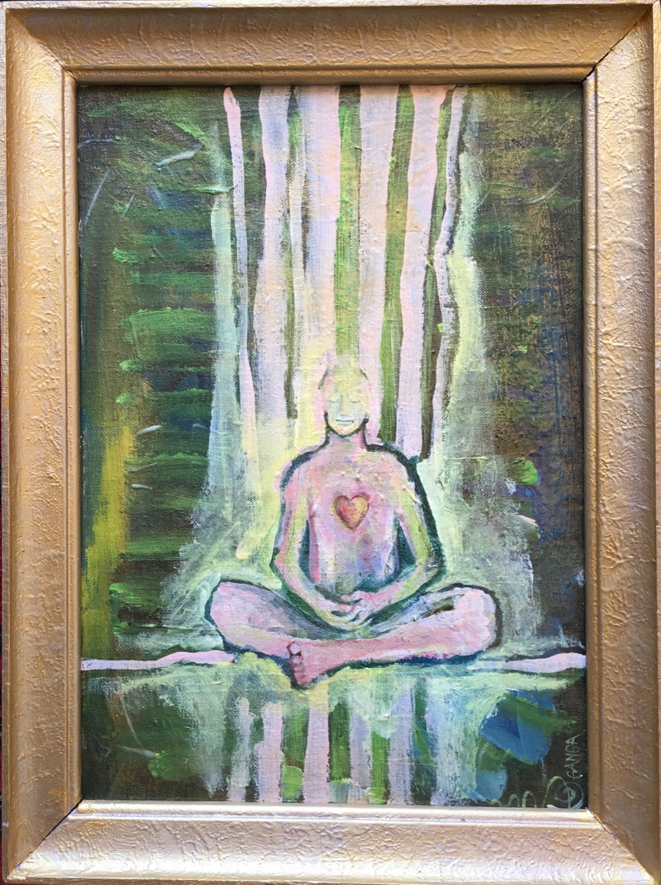 MOMENT OF MEDITATION acrylic on recykle painting. aprox 30x40cm