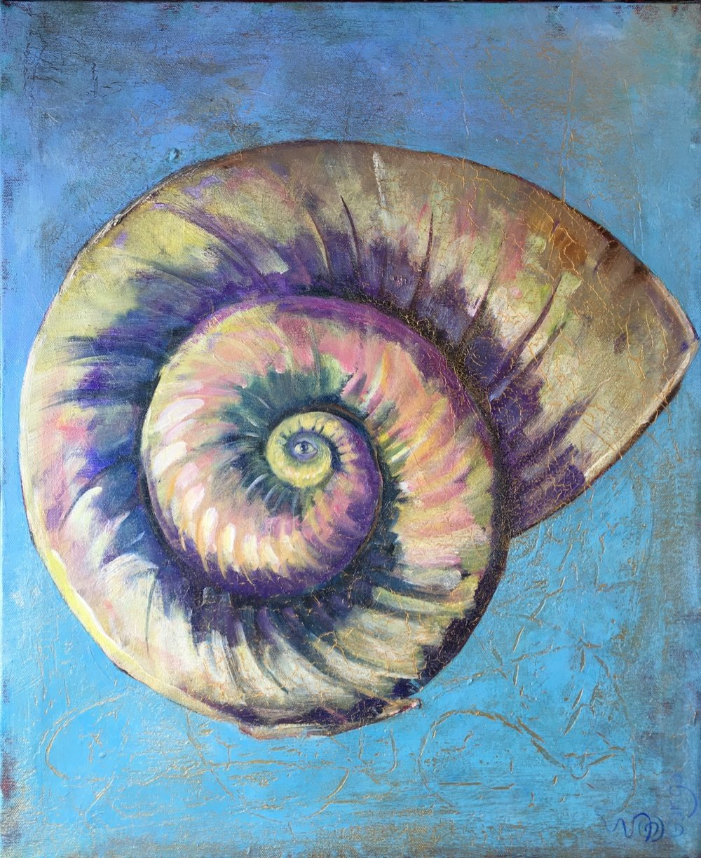 """Fossil"" 50 x 60cm, Acrylic on Canvas with golden frame"