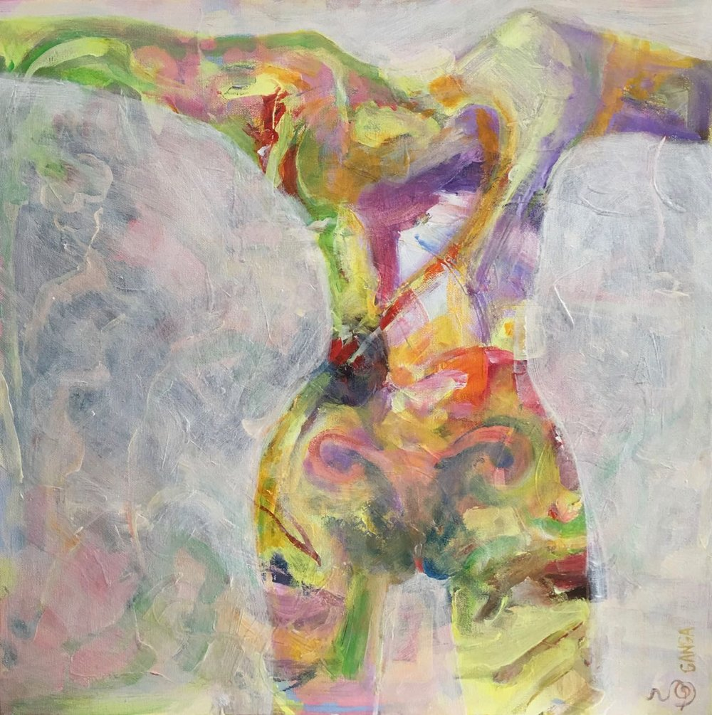 INWARD TORSO/HOPE. 50x50cm acrylic on canvas