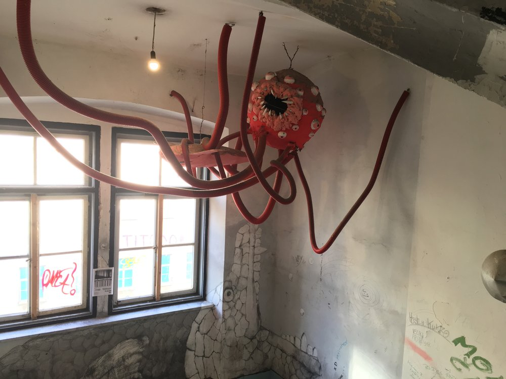 This giant papier mache spider was hung in one of the stairwells. Getting around was a challenge, the building felt like a maze.
