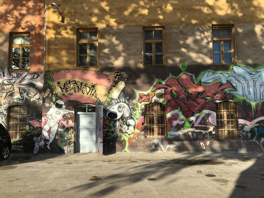 The entire first floor (and in some area up to the second) was covered in graffiti on the outside of the building.