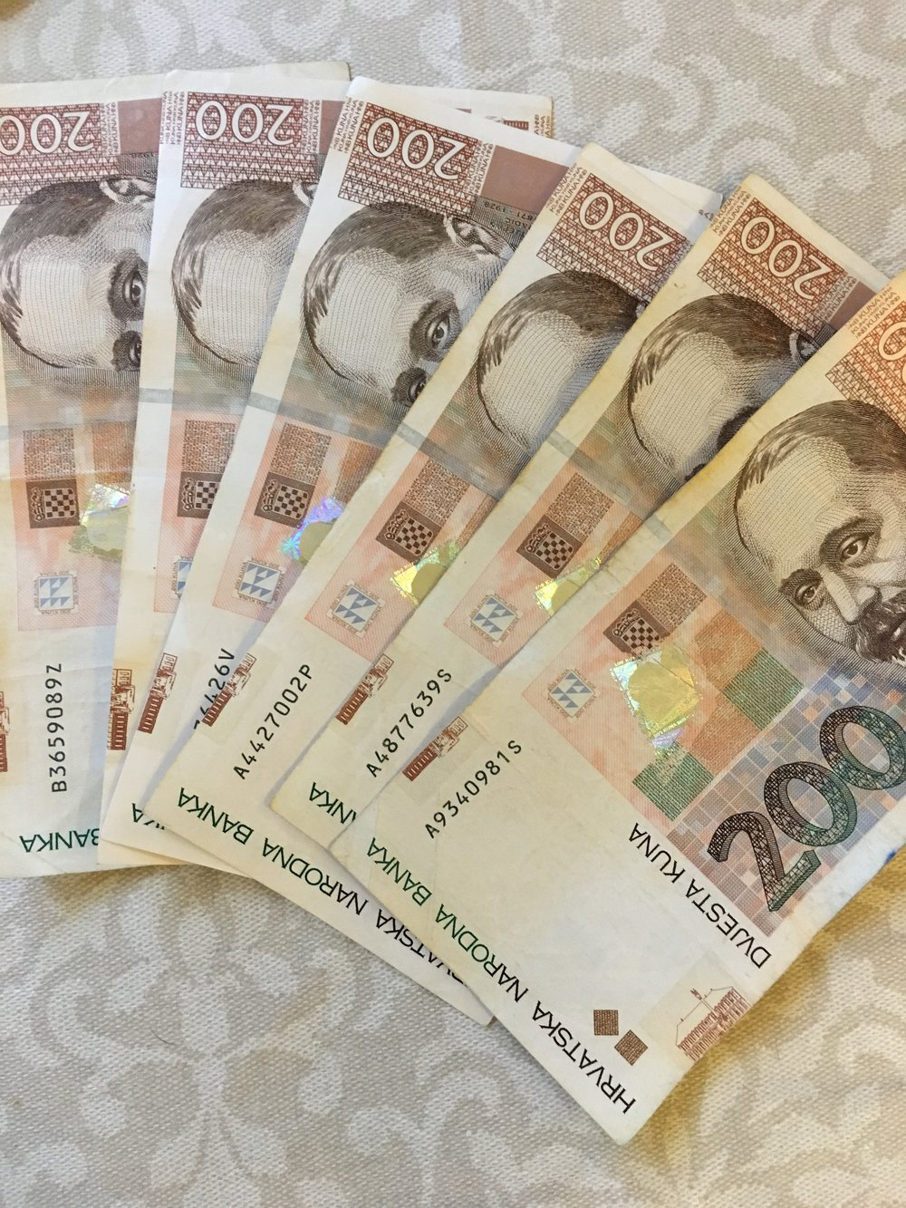 About 6 Croatian Kuna equals one US dollar.