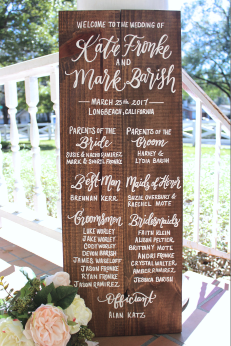 Wooden Wedding Program Sign