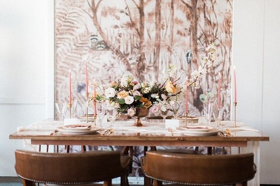 Photo by  Stephanie Yonce Photography  / Event Design by  Glint Events  / Floral Design by  The Proper Petal  / Tabletop Décor by  Paisley & Jade ,  Anthropologie ,  Crate & Barrel  via  100 Layer Cake