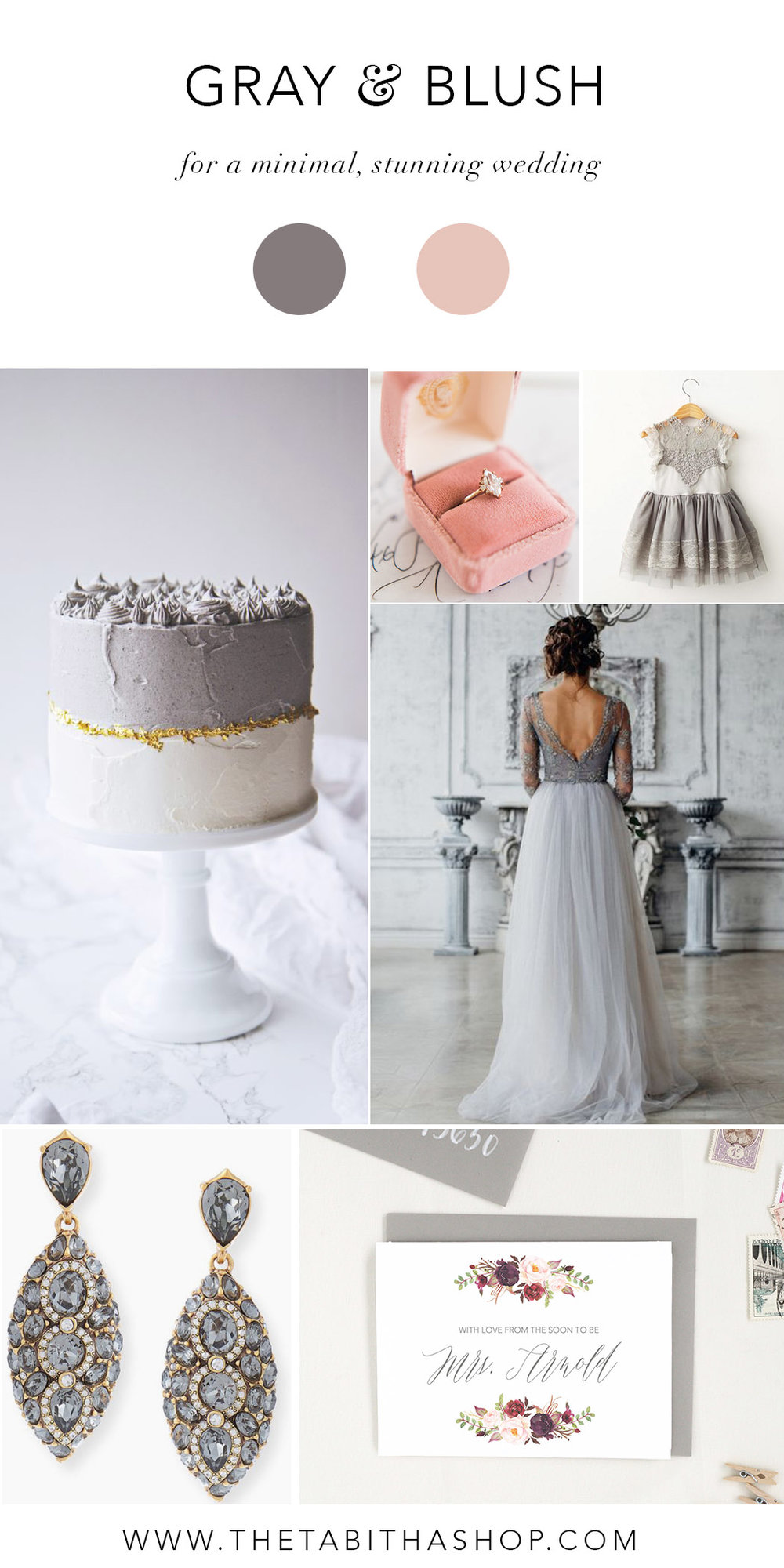 Clockwise, starting top left: Photo by  La Peche Fraiche  // Photo by Joy Michelle Photography via  100 Layer Cake  // Dress from  ModerneChild Shoppe  // Photo via Pinterest // Card by  The Tabitha Shop   // Earrings from  Neiman Marcus