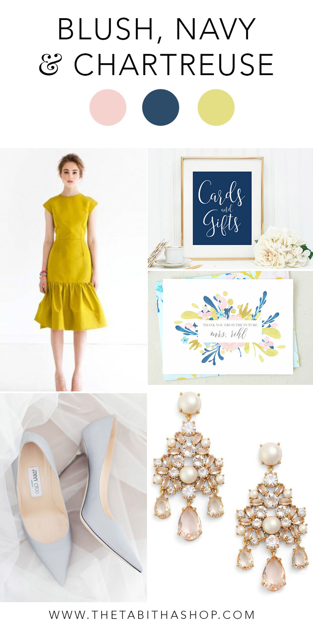 Clockwise, starting with top left: Dress and photo via Pinterest // Sign by  MadKittyMedia  // Future Mrs. Card by  The Tabitha Shop  // Earrings from  Nordstrom  // Photo by  Craig and Eva Sanders Photography  via  ModWedding