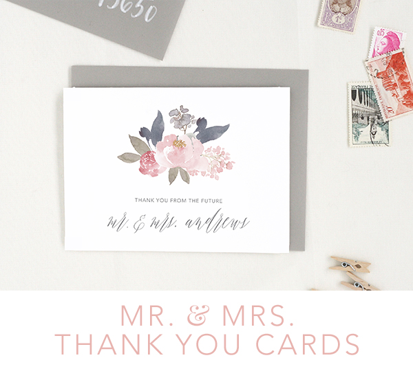 mr and mrs thank you wedding cards