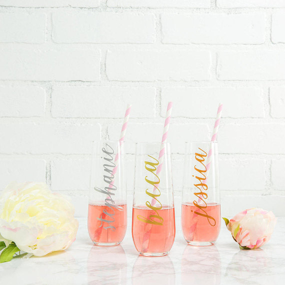 champagne flutes bridesmaid ask