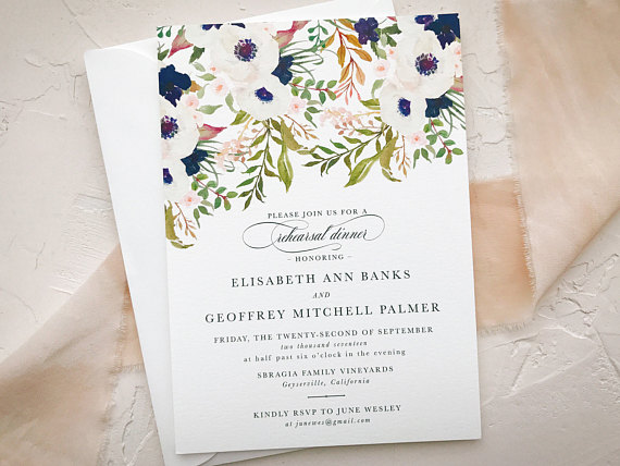 Invitation by  Betty Lu Paperie    Navy + white forever! This  invitation  is absolutely stunning to kick off your rehearsal dinner.