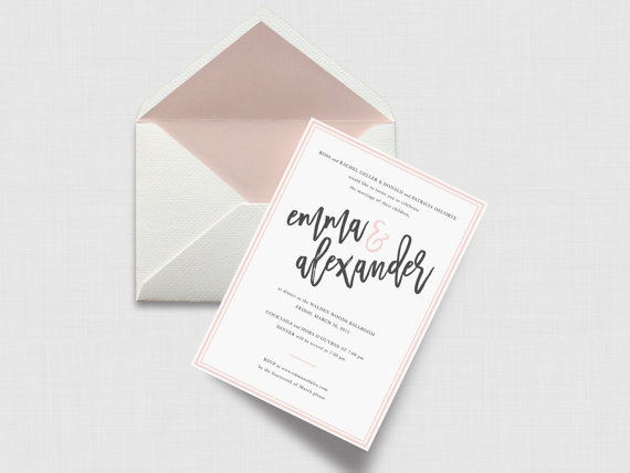 Invitation by  LD Party Shop    I sincerely hope blush never goes out of style. This  invitation uses it so well. Not too much, not too little.