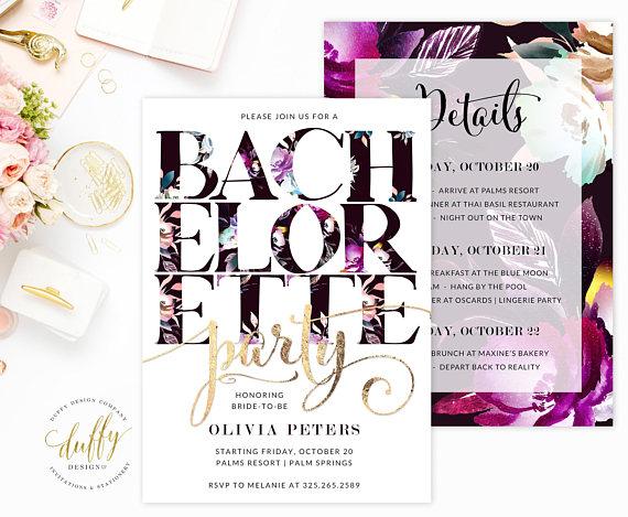 Invite by    Duffy Design Co.    Love the bold florals in  this invite . It's so classy, but still fun.
