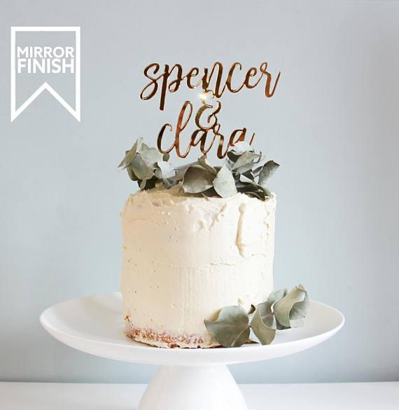 wedding cake topper gold