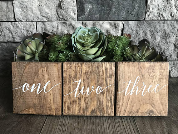 wooden calligraphy table numbers