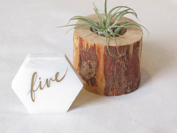 marble and gold table number