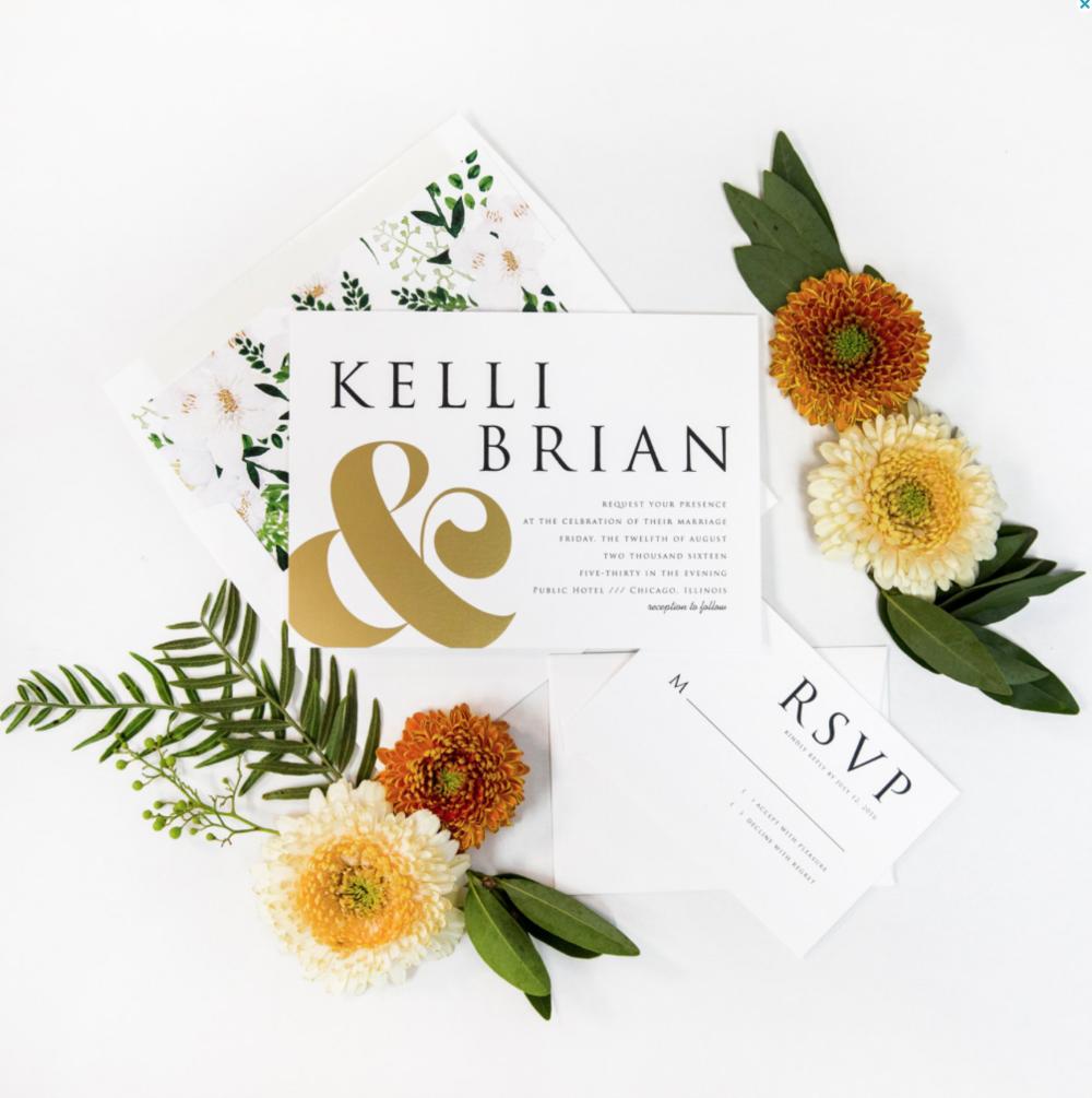 ampersand wedding invitation gold