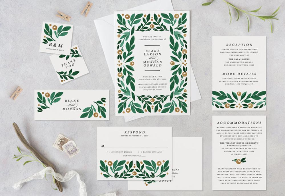 green spring wedding invitation