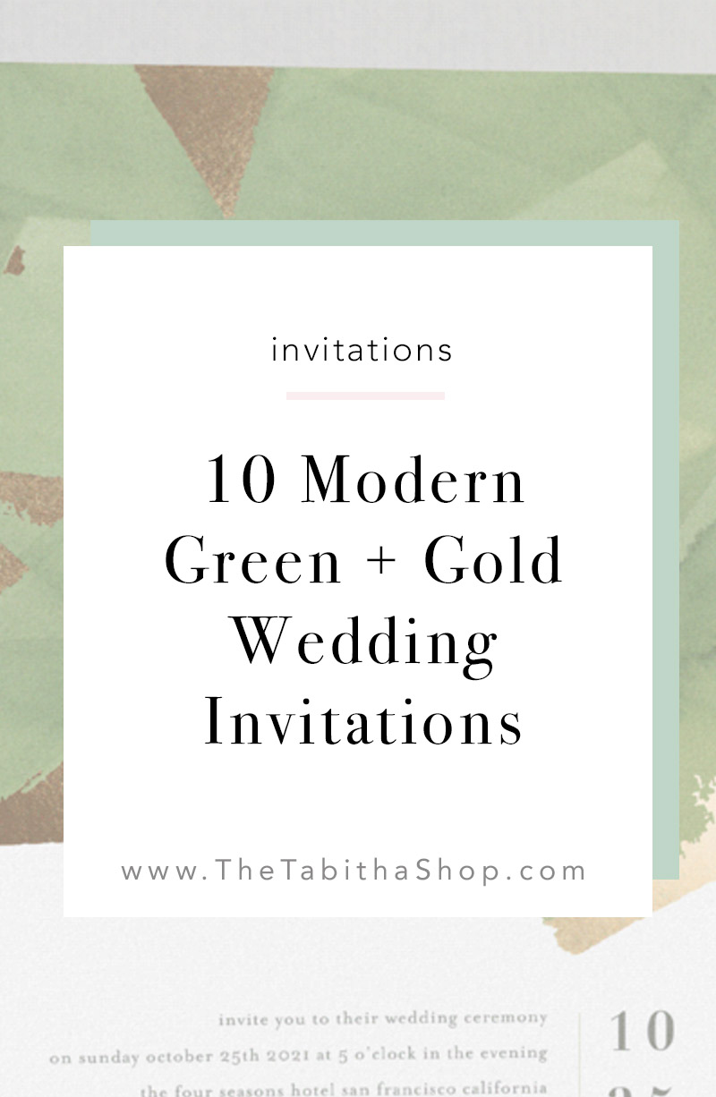 green and gold wedding invitations