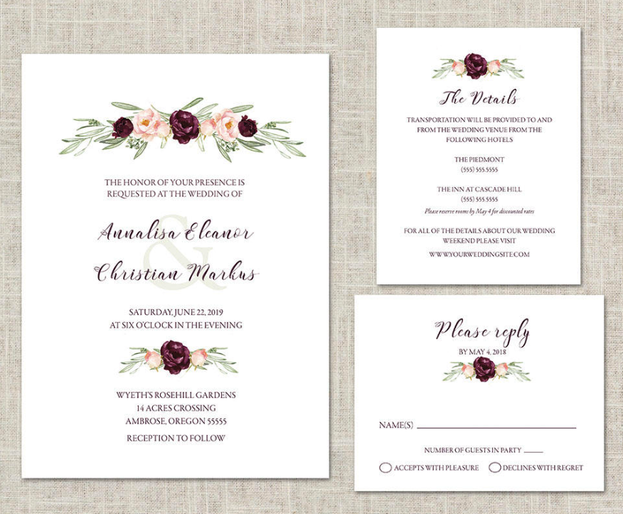 blush and wine wedding invitation