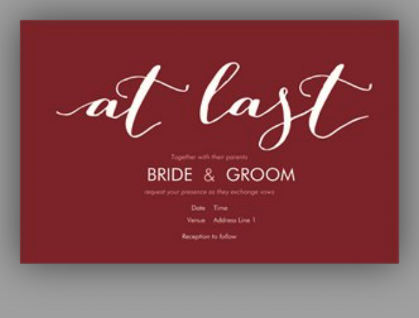 simple marsala wedding invite