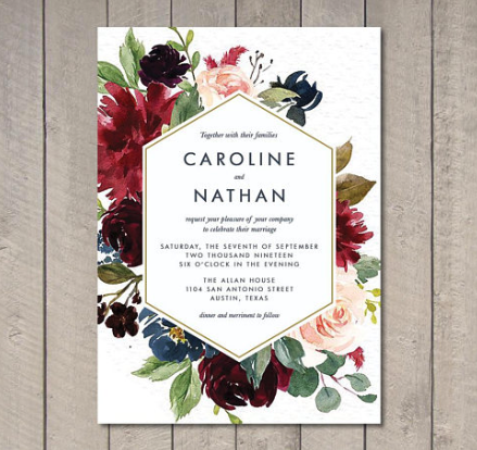 Printable Wedding Invitation by Vintage Sweet Design
