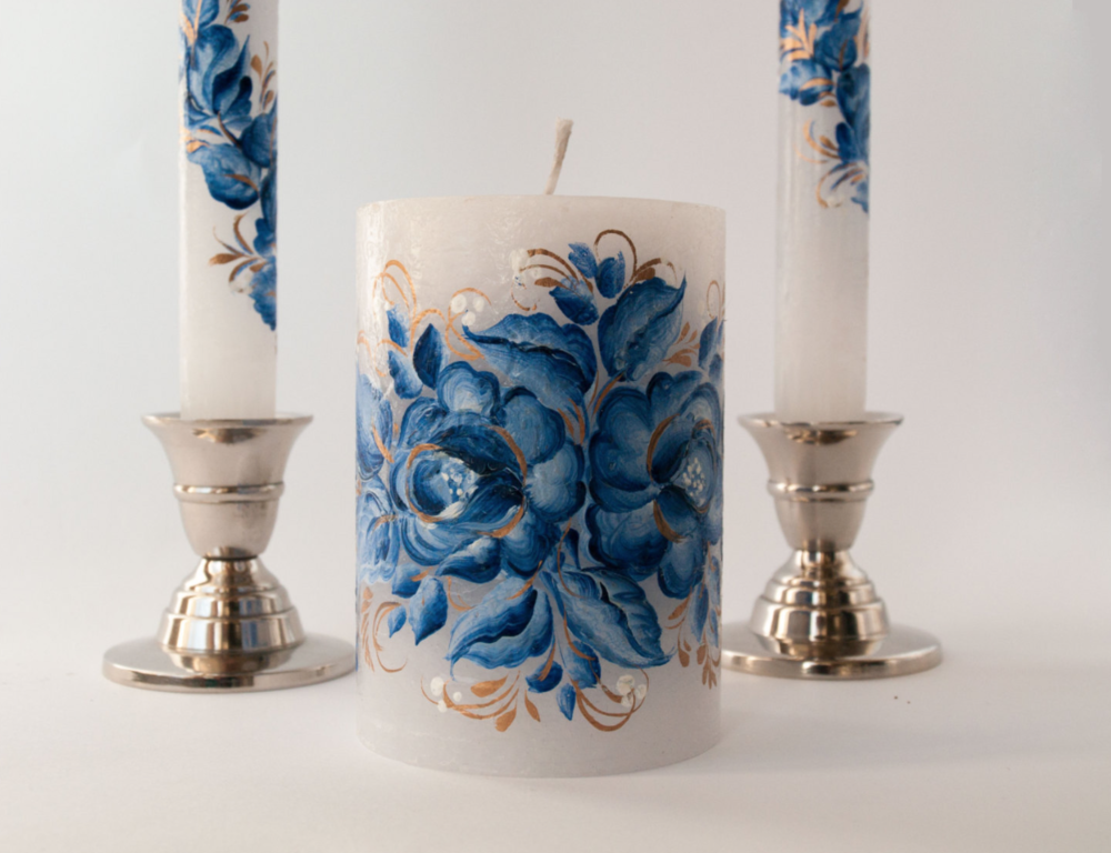 BLUE AND GOLD WEDDING CANDLES