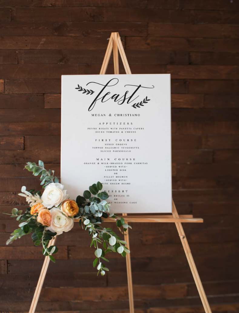 large wedding menu board