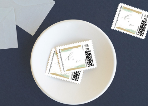 Custom wedding stamps from Minted