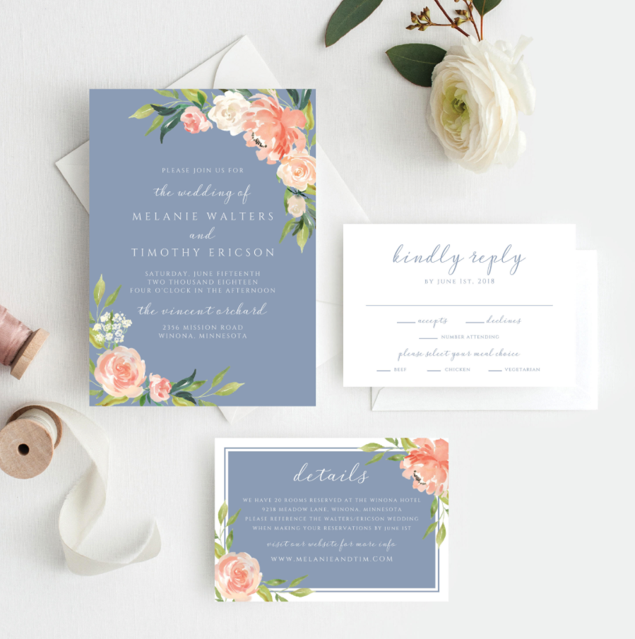 blue and peach wedding invitations