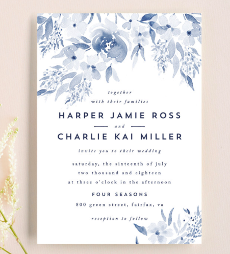 light blue wedding invitations