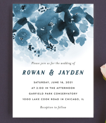 floral blue wedding invitations