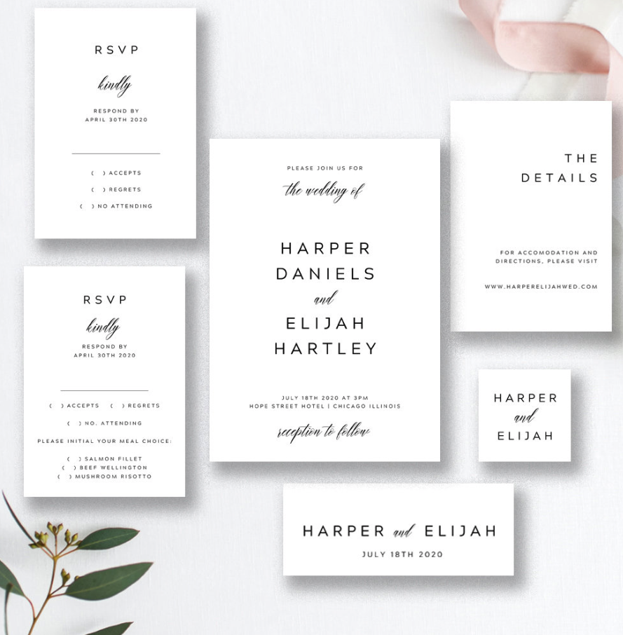 black and white invites