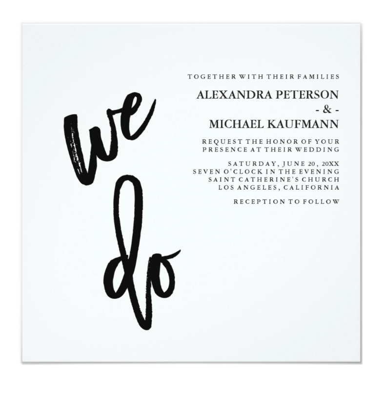 simple white wedding invitation