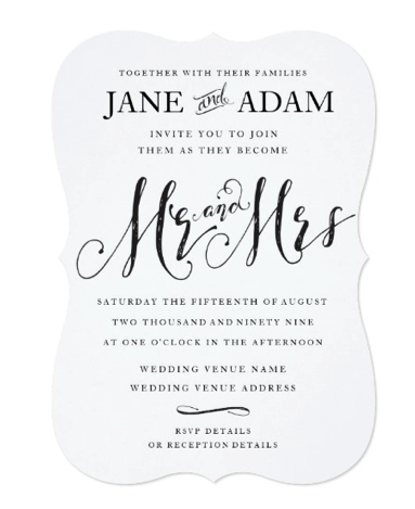 mr and mrs wedding invitation