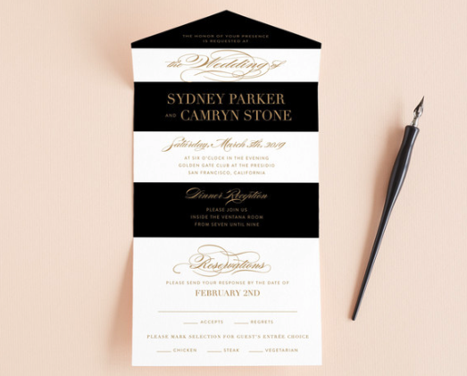 black and white stripe invitation