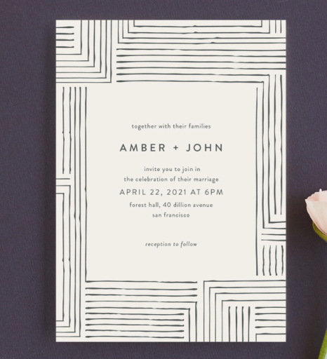 modern invitation to wedding