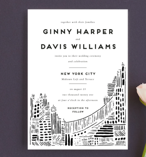 modern city scape wedding invitation