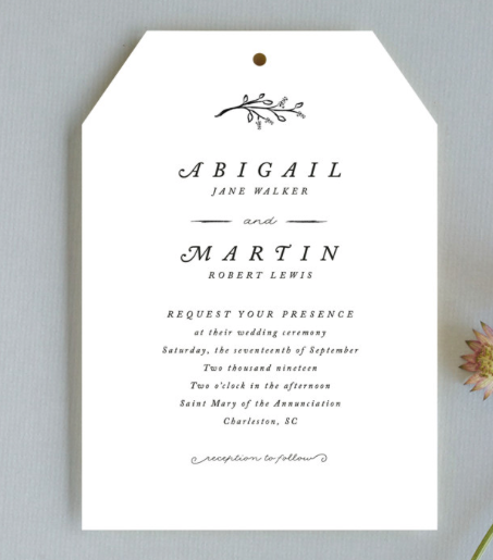 delicate wedding invitation