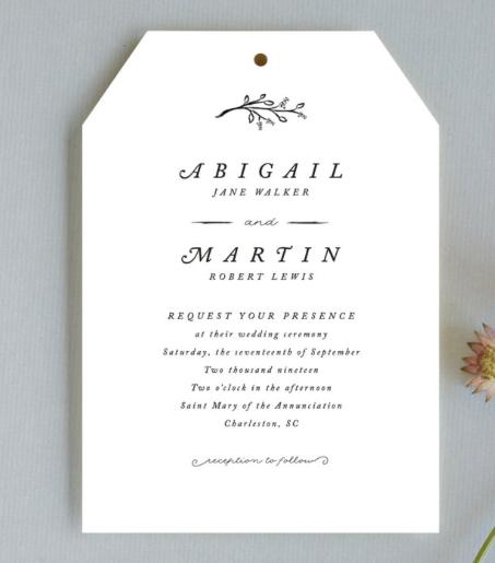 delicate wedding invitation