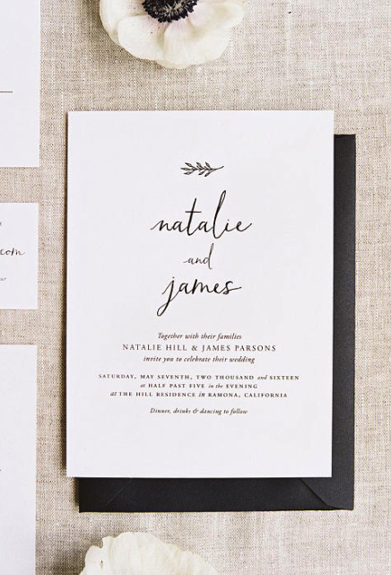 beautiful simple wedding invites