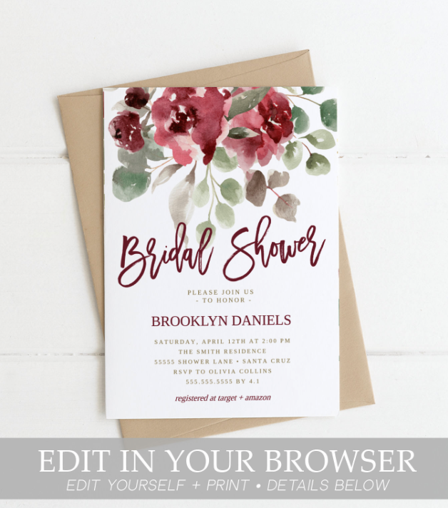 maroon shower floral invites